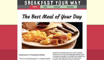 Photo of the home page of the minisite titled: Breakfast Your Way